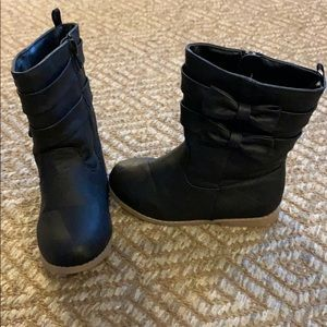 Girls Black Bow Boots